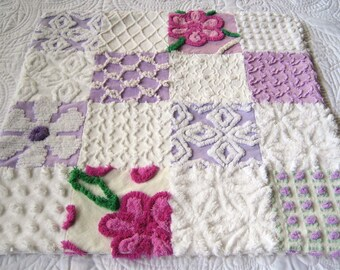 """Soft and Fluffy Cotton Vintage Chenille Baby Accessory - """"Blankie""""  for Baby or Dollies - Purple and White 20"""" x 20"""""""