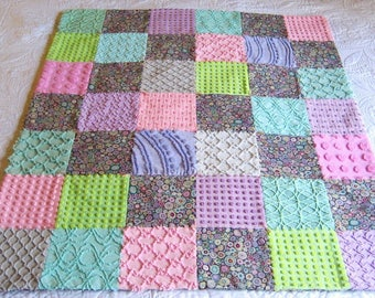 "SALE Ready Made Kaffee Fassett ""Paperweight Gray""  Print and Vintage Chenille Baby or Lap Quilt 39"" x 45"""