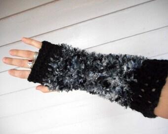 "Strigidae.  The Black & Gray Feathered Screech Owl Long Boho Fingerless Gloves. Crochet ""eyelash"" yarn arm warmers. OOak"