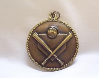 PERSONALIZED BASEBALL MEDAL w/ yellow neck ribbon goldtone
