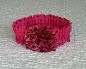 """Dog Ruffle Collar, Pet Bandana, Pretty in Pink Dog Scrunchie Collar with black and pink swirl flower - Size L: 16"""" to 18"""" neck"""