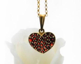 Vintage Garnet Heart Necklace | Bohemian Red Garnet Heart Pendant | Pyrope Garnets | Garnet Gold, Gilded 900 Silver - 20 Inch Chain Included