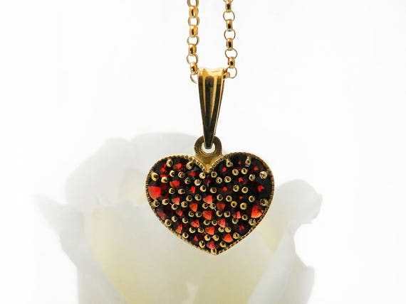 Vintage Garnet Heart Necklace | Bohemian Red Garnet Heart Pendant | Pyrope Garnets | Garnet Gold, Gilded 900 Silver - 20 Inch Chain Included