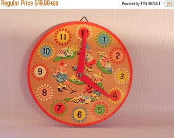 FALL SALE 25% OFF Vintage Wood Clock Toy. Children Kids Time Teaching. Learning to Tell Time. Numbers and Elves in Bright Colors.