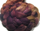 Merino wool roving hand dyed - hand painted spinning and nuno felting fiber - 4.6 oz Moon Glow - wool combed top - 19 micron - earthy fibre