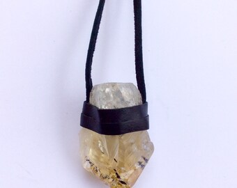 Large Citrine Leather Wrapped Necklace