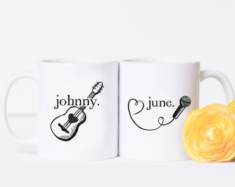 Couples Mug Set - Johnny and June, Valentine's Day Gift, Anniversary Present, Cute Anniversary Gift, Country Girl, Johnny Cash, Mug Gift Set