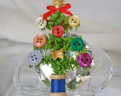 Vintage Button Spool of Thread Christmas Tree Brooch.  Seamstress Sewing Christmas Tree Pin.  Holiday Brooch.