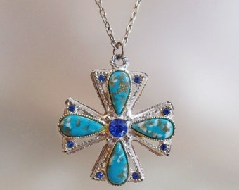 CHRISTMAS SALE Vintage Turquoise Blue Maltese Cross Necklace.  Faux Turquoise and Blue Rhinestone Cross Pendant Necklace.