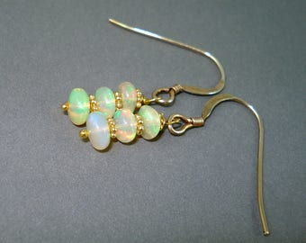 Opal Earrings, Ethiopian Fire Opals and Gold Wires, Triple Stone Opal Earrings With Clear Fiery Opals