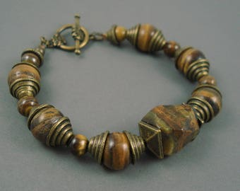 Tiger  Eye Bracelet, Brass and Chunky Tiger Eye Gemstone Beads