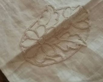 Cream unfinished cotton table runner
