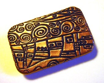 LARGE Klimt Art Metal Slide Top Tin Black and Gold Stunning Purse Accessory Sturdy Storage Box Great Handmade Gift FREE Velvet Gift Pouch