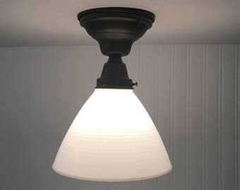 Milk Glass SEMI-FLUSH Ceiling Light with Soft Waffle Pattern - Mount Chandelier Lighting Fixture Farmhouse Island Kitchen Cottage LampGoods
