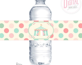 DIGITAL Pink Circus Drink Labels, Circus Water Bottle Wraps, Circus Birthday, Food Table Decor, Circus Party Printables, Carnival Party