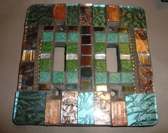 MOSAIC LIGHT SWITCH Plate, Double, Wall Art, Wall Plate, Turquoise, Shades of Green, Bronze, Gold, Silver