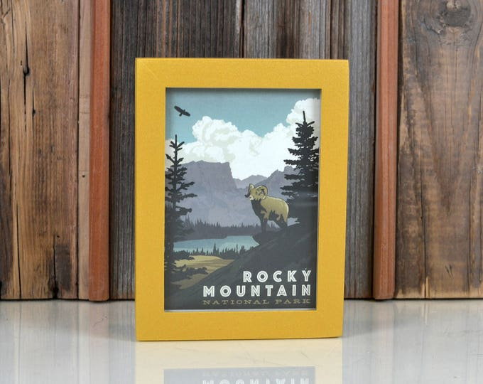 Rocky Mountain National Park Colorado Framed Postcard - Travel Gift Frame Solid Shimmer Gold Finish Peewee Style  IN STOCK Same Day Shipping