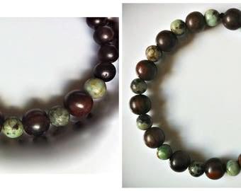 DOUBLE SET Tiger Ebony & Jasper Mala Bracelet, Unisex Yoga Jewelry, Zen Stretch Bracelets, Layering Bracelet, Gemstone Mala Bead Bracelet