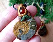 Little ammonite mistletoe fimo pendant