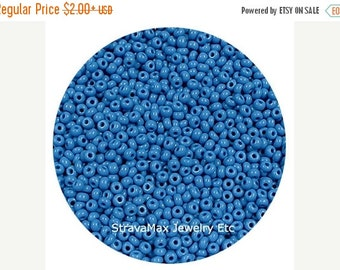 ON SALE 10/0 Medium Blue - sold in one ounce packs - 2200 beads to an ounce - approx 2.3mm diameter - Czech glass beads