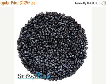 Beads On Sale - DB-0306 11/0 Miyuki Delica Seed Beads - charcoal grey color seed beads - opaque matte luster beads - round cylinder seed bea