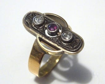 Vintage 14k Gold Amethyst and Diamant Ring