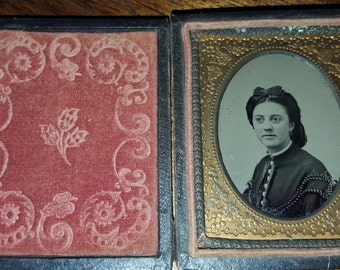 Antique Civil War Era Tintype Portrait of A Woman 9th Plate