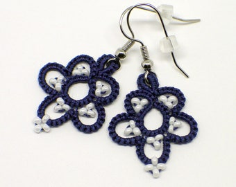 Navy blue earrings with white seed beads. Nautical floral design. Tatted Lace. Gift for her.