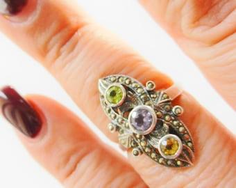 Exquisite Deco Amethyst, Peridot, Citrine and marcasite ring - 925 silver elegant and feminine old Italian ring - Size 9 -- Art.971/2