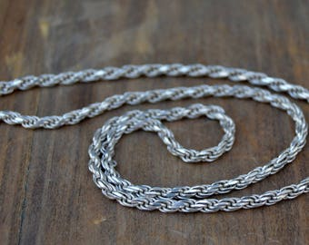 Vintage Sterling Silver Snake Chain . Old Italy Chain . 925 . 18""