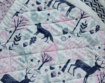 Baby Girl Quilt-Baby Quilts-Woodland Animals Baby Bedding-Gray-Navy-Pin-Nursery-Baby Shower Baby Blanket-Deer-Fox-Bunny Rabbit Baby Blanket