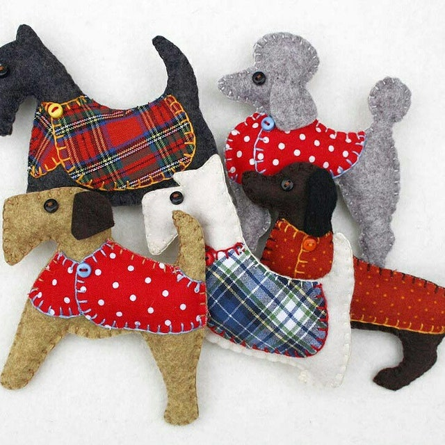 embroidered felt and fabric decorations and by puffinpatchwork