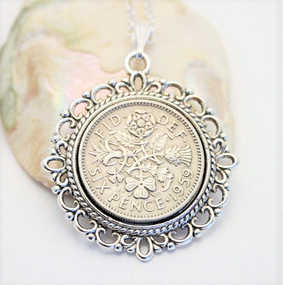 1959 Birthday Gift. Lucky Sixpence Necklace. 1959 Jewelry
