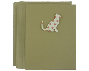Cat Greeting Card Blank Card Ivory with Pink Polka Dot Cat Silhouette Greeting Cards Cat Note Cards Cat Lover Gift Blank Note Cards