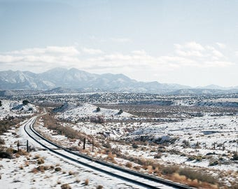 "Landscape Photography Fine Art Print // New Mexico Desert Winter Train Tracks // Large Scale Print - ""New Mexico Winter"""