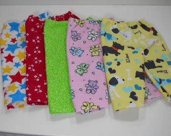 18 inch doll pajama bottoms, Slumber Party, 18 inch doll clothes Party Pack Favors, Five in a Pack,  Made to fit dolls such as American Girl