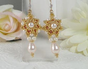 Woven Dangle Earrings Pearl Drops with Pink and Cream Gifts for Her