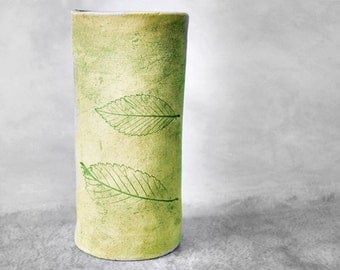 Green Leaf Stoneware Vase or Holder, Slab Built Vase, Shabby Chic, Gift Under 30