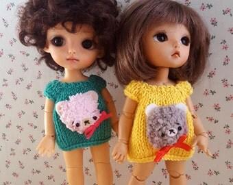 Bear set sock and dress for Pukifee Lati Yellow Mui Chan Middie Blythe