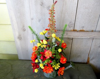 Watering Can Floral Arrangement / Yellow And Orange Floral Arrangement / Summer Garden Floral In Watering Can / Tall Floral Arrangement
