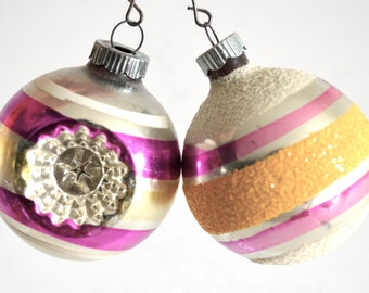 Vintage Shiny Brite Christmas Ornaments Set of 2