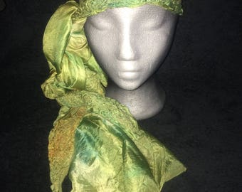 Silk and merino wool nuno felted triangle scarf in moss and gold colors