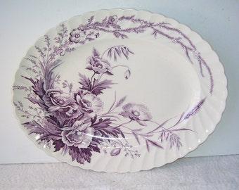 A.J. Wilkinson Clarice Cliff Purple and White English Harvest Platter, England Art Pottery Dinnerware, Purple Poppies, Semi Porcelain,