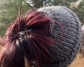 Knitted Messy Bun Hat, Knit Hat, Bun Hat, Knit Hat Pattern, Knitting Pattern, Handmade