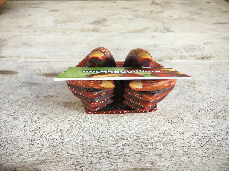 Vintage business card holder carved soapstone henna hands Africa
