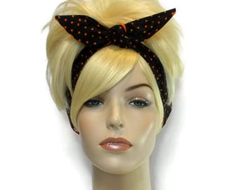 Black Headband, Orange Headband, Black and Orange, Wired Headband, Dolly Bow Headband, Headbands for Women and Teens, Cute Headband, Sports