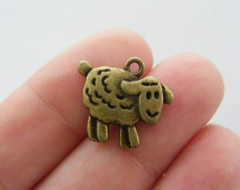 BULK 50 Sheep charms antique bronze tone BC143
