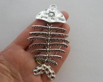 1 Fish bone pendant antique silver tone FF24