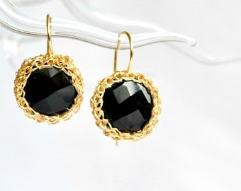Faceted onyx crochet earrings, black and gold earrings, luxe jewelry
