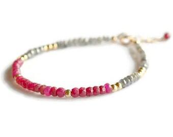 Genuine ruby and labradorite bracelet, gold filled ruby bracelet, red bracelet, july birthstone